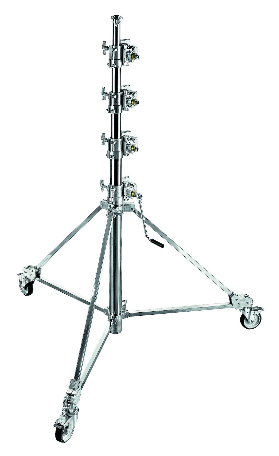 Manfrotto Stand wind-up 39, chrome, 3 sections; 1.8-3.7m; 16mm/28mm; max load 30kg (Avec roues)