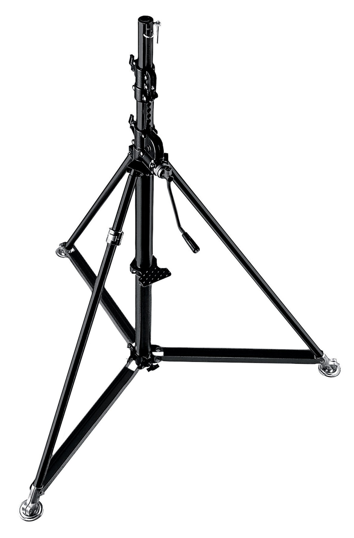 B6040, Manfrotto Stand wind-up 40, chrome, 3 sections; 1.72-3.86m; 16mm/28mm; max load 80kg (avec roues)